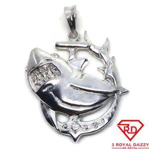 Shark on Anchor 3D Pendant 925 Sterling Silver